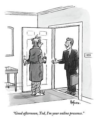 An Unkempt Man Opens The Door To Find Poster