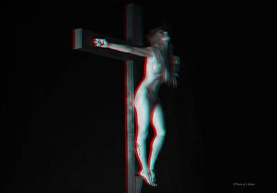 Anaglyph Dark Crucifix Poster by Ramon Martinez