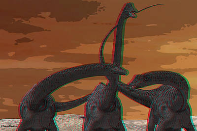 Anaglyph Diplodocus Poster by Ramon Martinez