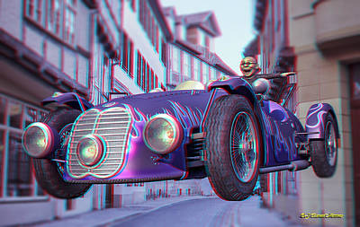 Anaglyph Old Car  Poster by Ramon Martinez