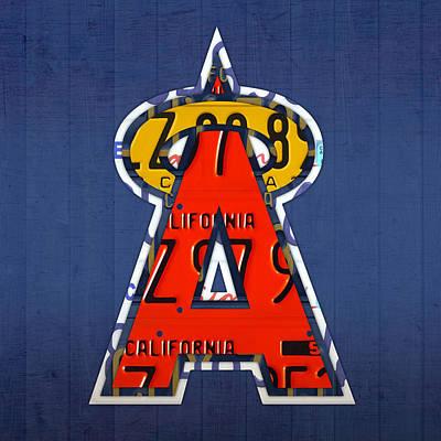 Anaheim California Angels Vintage Baseball Logo License Plate Art Poster