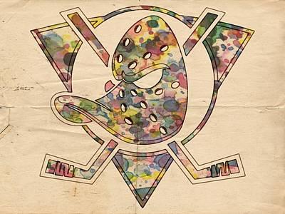 Anaheim Ducks Retro Poster Poster by Florian Rodarte