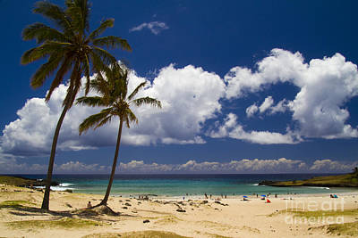 Anakena Beach On Easter Island Poster