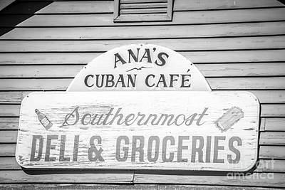 Ana's Cuban Cafe Key West - Black And White Poster
