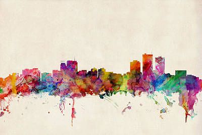 Anchorage Skyline Poster by Michael Tompsett