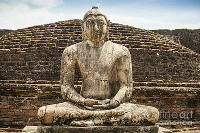 Ancient Buddha Statue At Polonnaruwa Poster