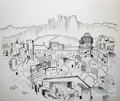 Poster featuring the drawing Ancient City In Pen And Ink by Janice Rae Pariza
