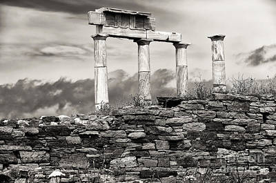 Ancient Columns On Delos Island Poster by John Rizzuto
