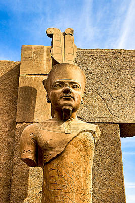 Ancient Face Of A Pharaoh At Karnak Poster by Mark E Tisdale