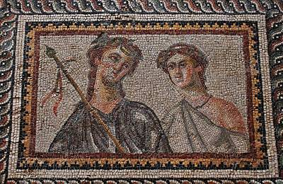 Ancient Mosaic Tiles Poster by Michael Saunders