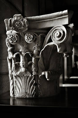 Ancient Roman Column In Black And White Poster by Angela Bonilla