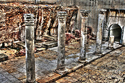 Poster featuring the photograph Ancient Roman Columns In Israel by Doc Braham