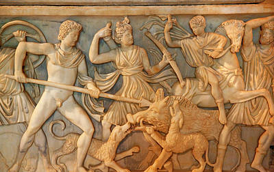 Ancient Roman Hunt Sculpture Burial Box Poster
