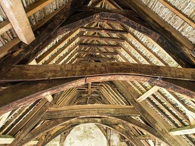 Ancient Roof Timbers In Stokesay Castle Poster by Ashley Cooper