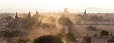 Ancient Temples At Sunset, Bagan Poster