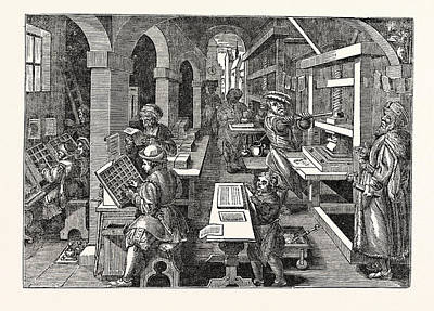 Ancient View Of A Dutch Printing-office Poster by English School