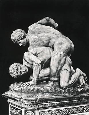 Ancient Wrestling Sculpture Poster