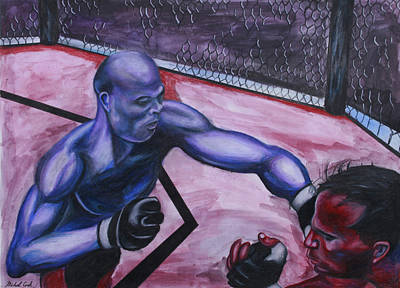 Anderson Silva Vs. Rich Franklin Poster by Michael Cook