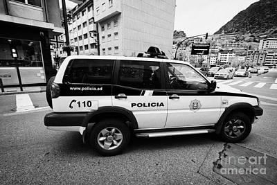 Andorra Police Service Patrol Vehicle Andorra La Vella Andorra Poster by Joe Fox