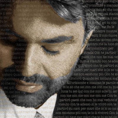 Andrea Bocelli And Lyrics Square Poster by Tony Rubino