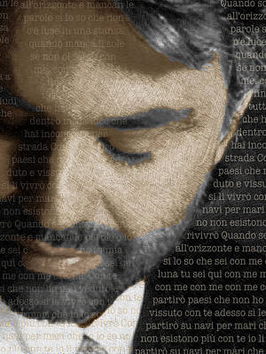Andrea Bocelli And Lyrics Vertical Poster by Tony Rubino