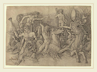 Andrea Mantegna Italian, C. 1431-1506, Battle Of The Sea Poster by Litz Collection