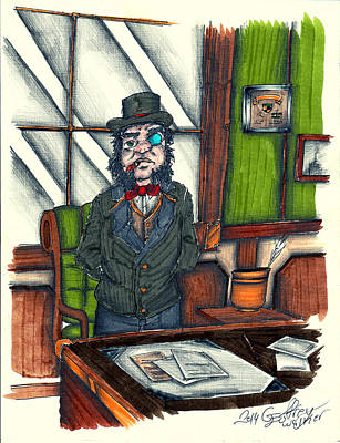 Andrew C. At His Desk Poster by Geoffrey Walker