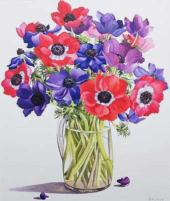 Anemones In A Glass Jug Poster by Christopher Ryland