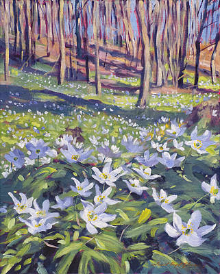 Anemones In The Meadow Poster by David Lloyd Glover