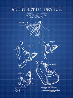 Anesthetic Device Patent From 1941 - Blueprint Poster by Aged Pixel