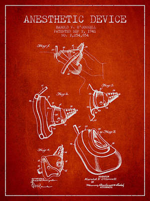 Anesthetic Device Patent From 1941 - Red Poster by Aged Pixel