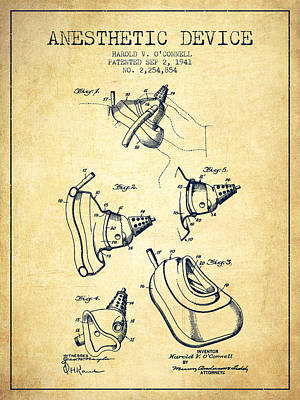 Anesthetic Device Patent From 1941 - Vintage Poster by Aged Pixel