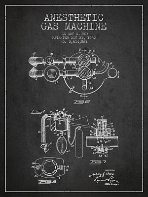 Anesthetic Gas Machine Patent From 1952 - Charcoal Poster by Aged Pixel