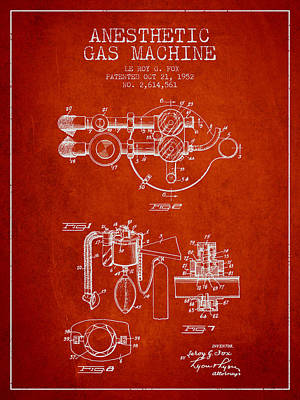 Anesthetic Gas Machine Patent From 1952 - Red Poster by Aged Pixel