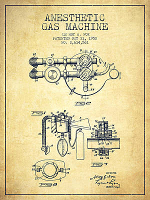 Anesthetic Gas Machine Patent From 1952 - Vintage Poster by Aged Pixel