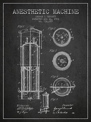 Anesthetic Machine Patent From 1903 - Charcoal Poster by Aged Pixel