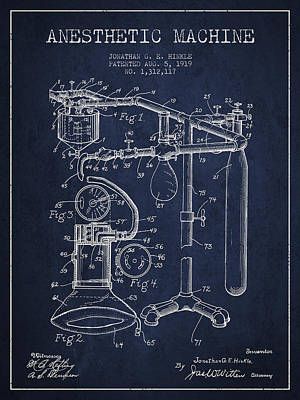 Anesthetic Machine Patent From 1919 - Navy Blue Poster by Aged Pixel
