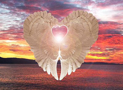 Poster featuring the digital art Angel Heart At Sunset by Eric Kempson