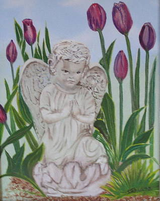 Poster featuring the painting Angel In The Garden by Sharon Schultz