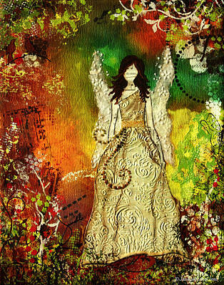 Angel Of Light Christian Inspirational Mixed Media Artwork Of Angel Poster