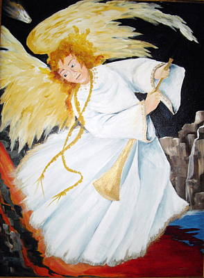 Poster featuring the painting Angel Of The Apocalypse by Ellen Canfield