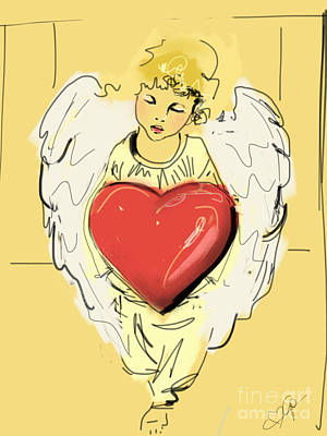 Angel Red Heart Poster by Go Van Kampen