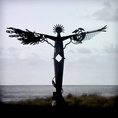 Angel Sculpture On The Oregon Coast Poster