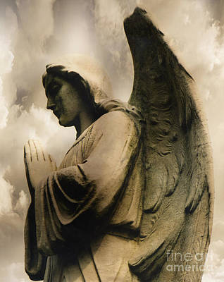 Angel Wings Praying - Spiritual Angel In Clouds Poster