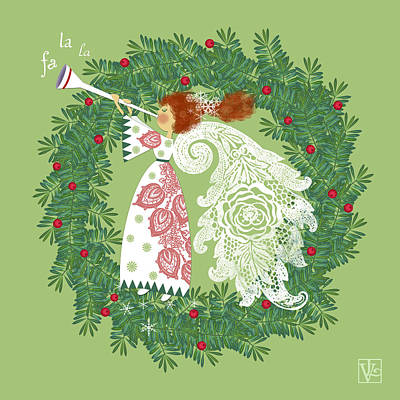 Angel With Christmas Wreath Poster by Valerie Drake Lesiak