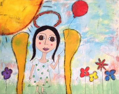 Angel With Red Balloon  Poster