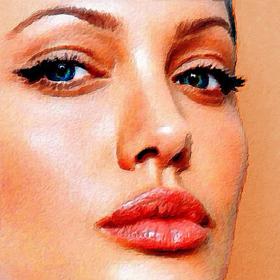 Angelina Jolie Acrylic On Canvas Poster by Tony Rubino