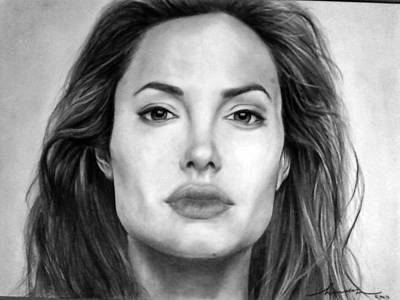 Angelina Jolie Original Pencil Drawing Poster by Murni Ch