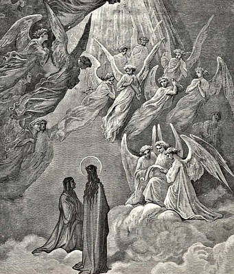 Angels In Heaven Dante's Divine Comedy Illustration Poster