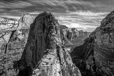 Angel's Landing In Black And White Poster